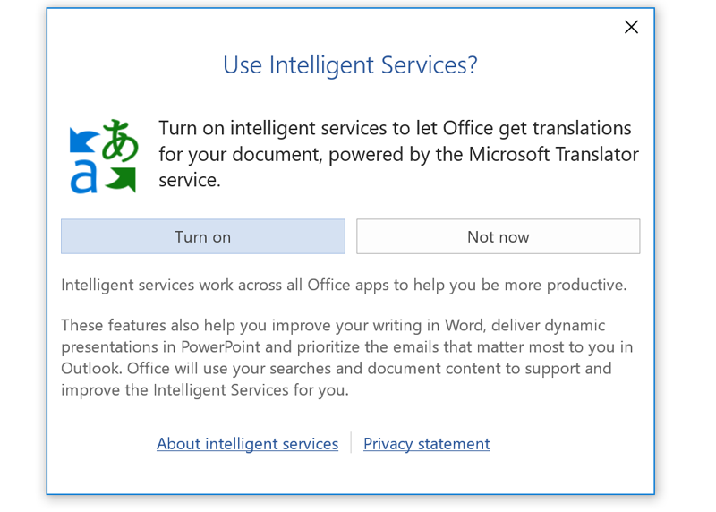 A prompt to activate Office Intelligent Services.