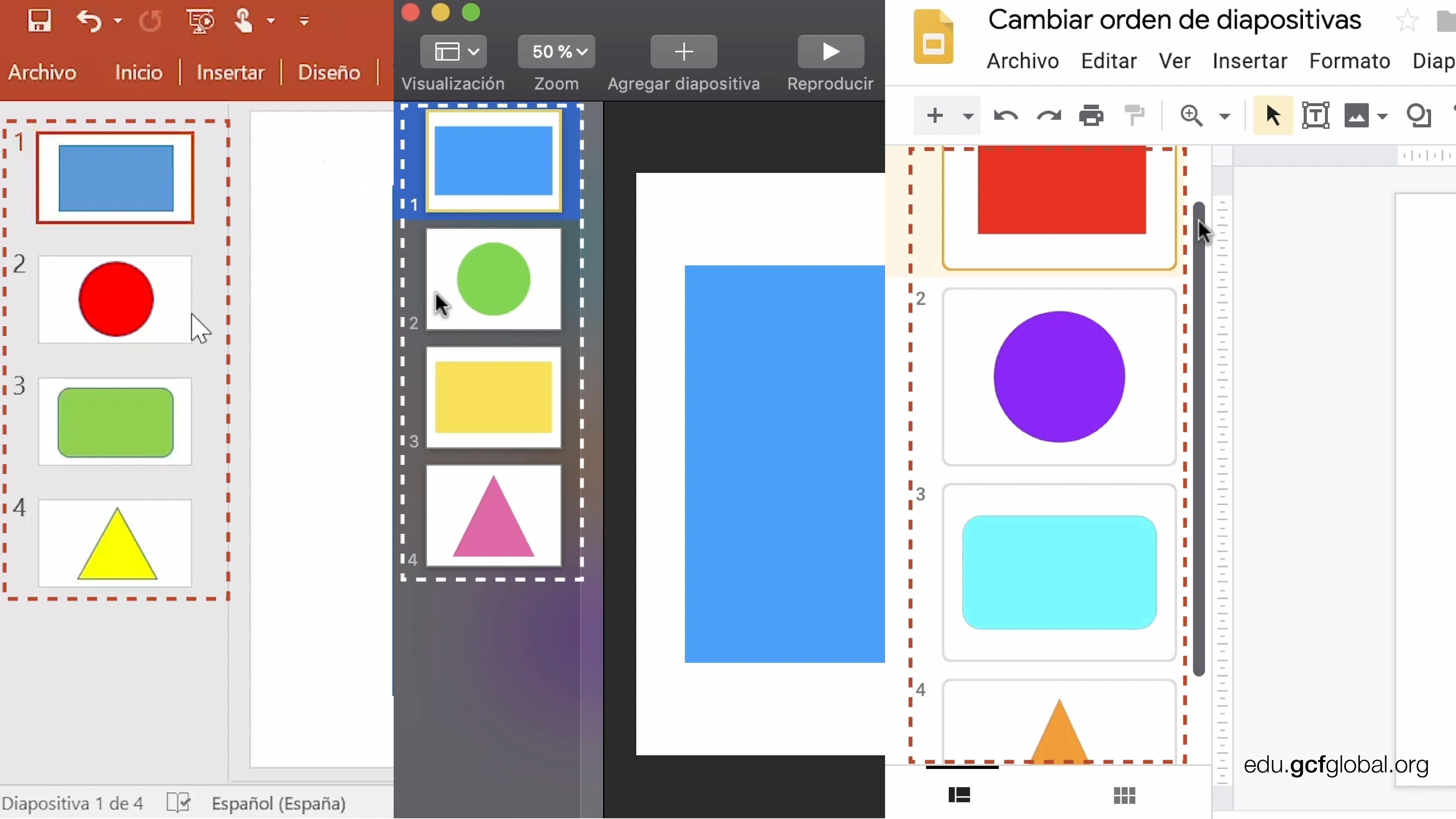 Vista de contenido al lado izquierdo en programas Powerpoint, Presentaciones de Google y Keynote.
