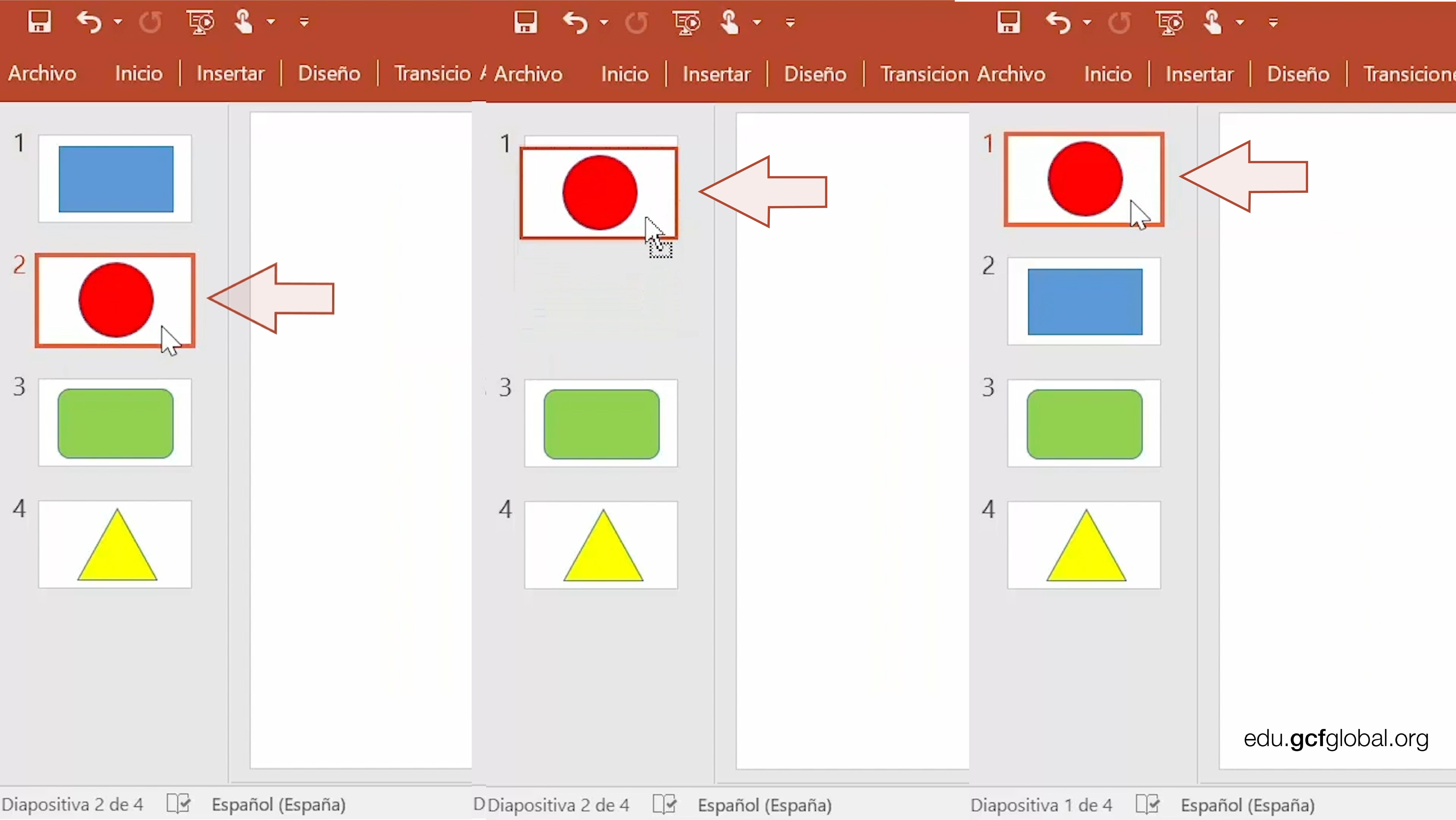 Capturas de pantalla de programa PowerPoint moviendo una diapositiva en una presentación.