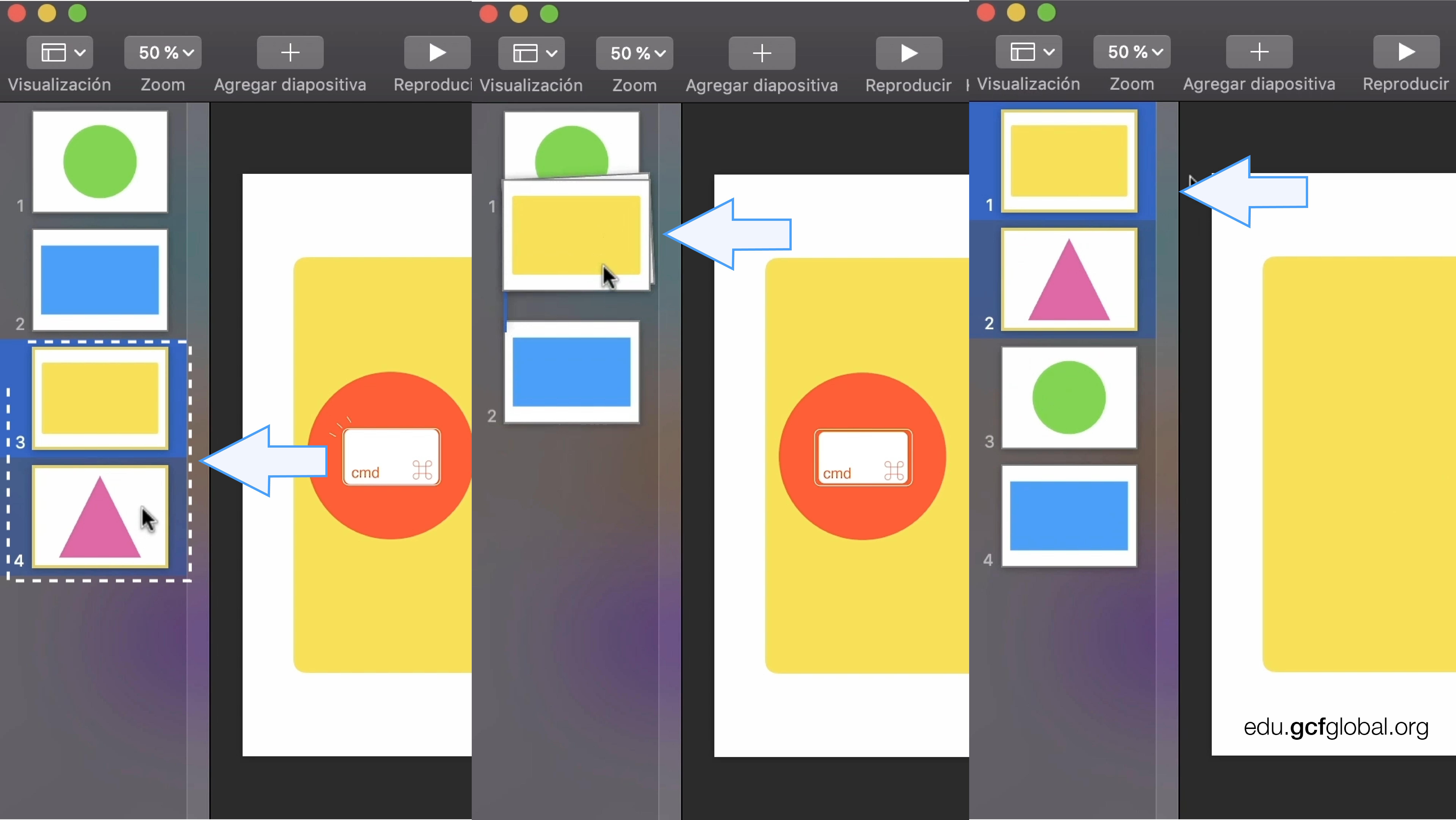 Capturas de pantalla de programa Keynote moviendo dos diapositivas en una presentación.