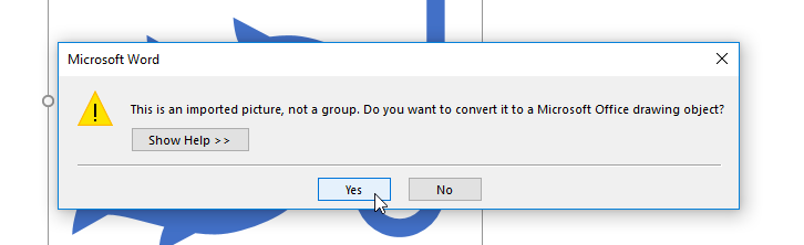 screenshot of clicking Yes after choosing Convert to Shape