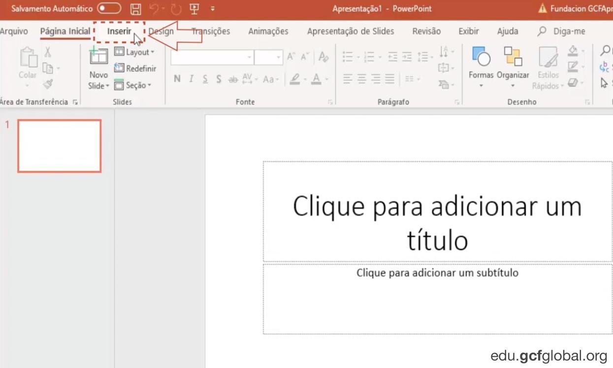 Imagem do programa Powerpoint inserindo um novo slide.