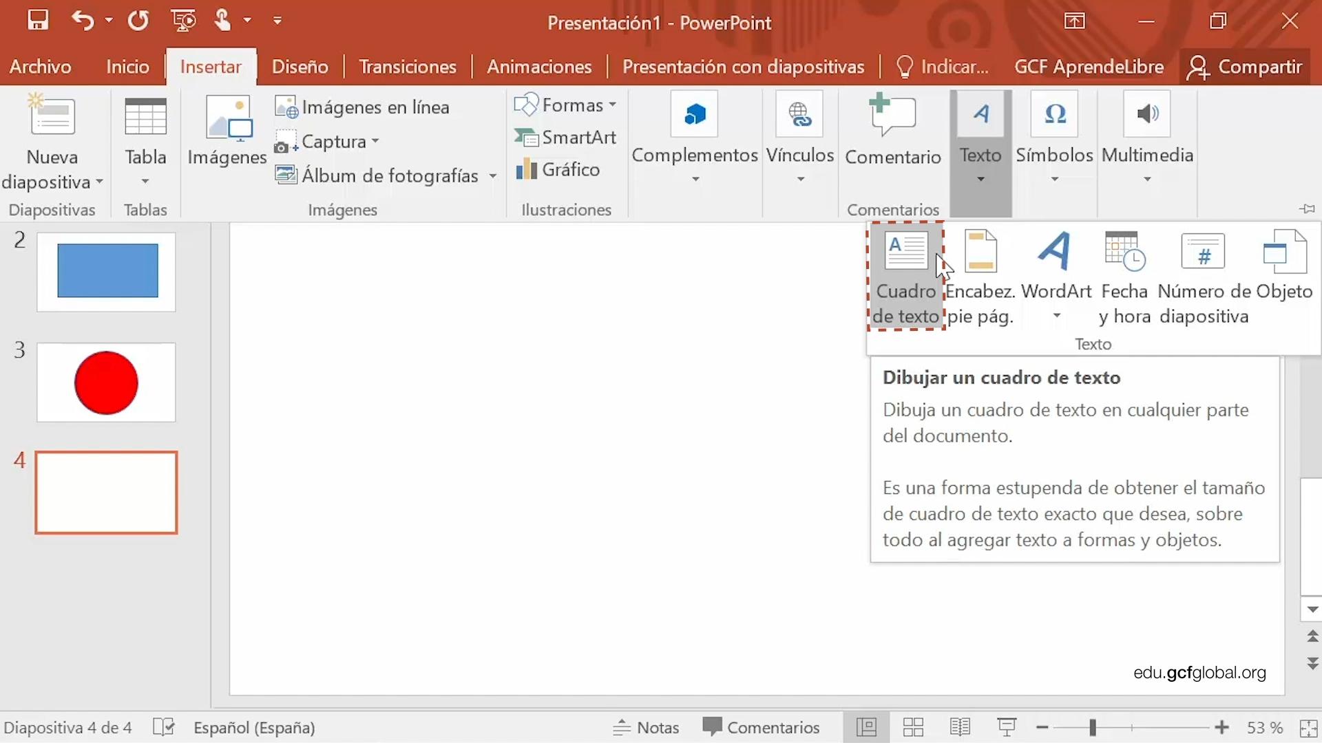 Imagen de Powerpoint seleccionando la opción cuadro de texto.