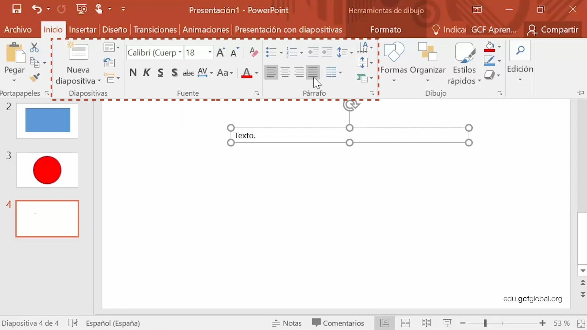 Imagen de Powerpoint con las opciones de formato del cuadro de texto.