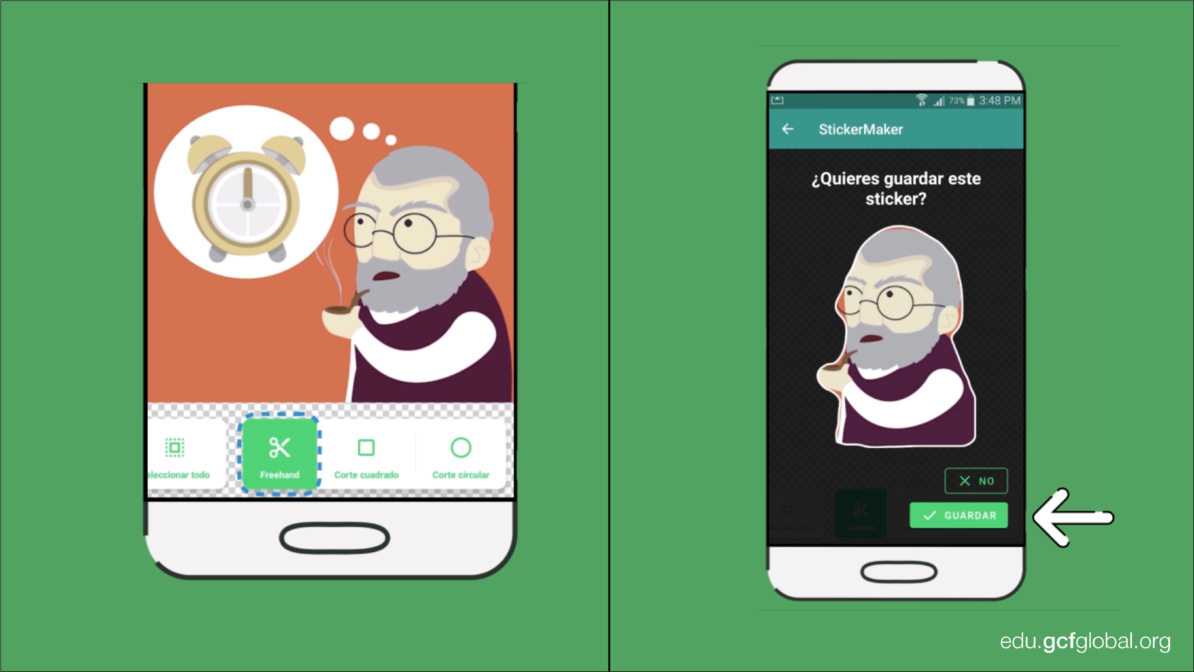Imagen de la aplicación Sticker Maker con las opciones de recorte de imagen y guardar.