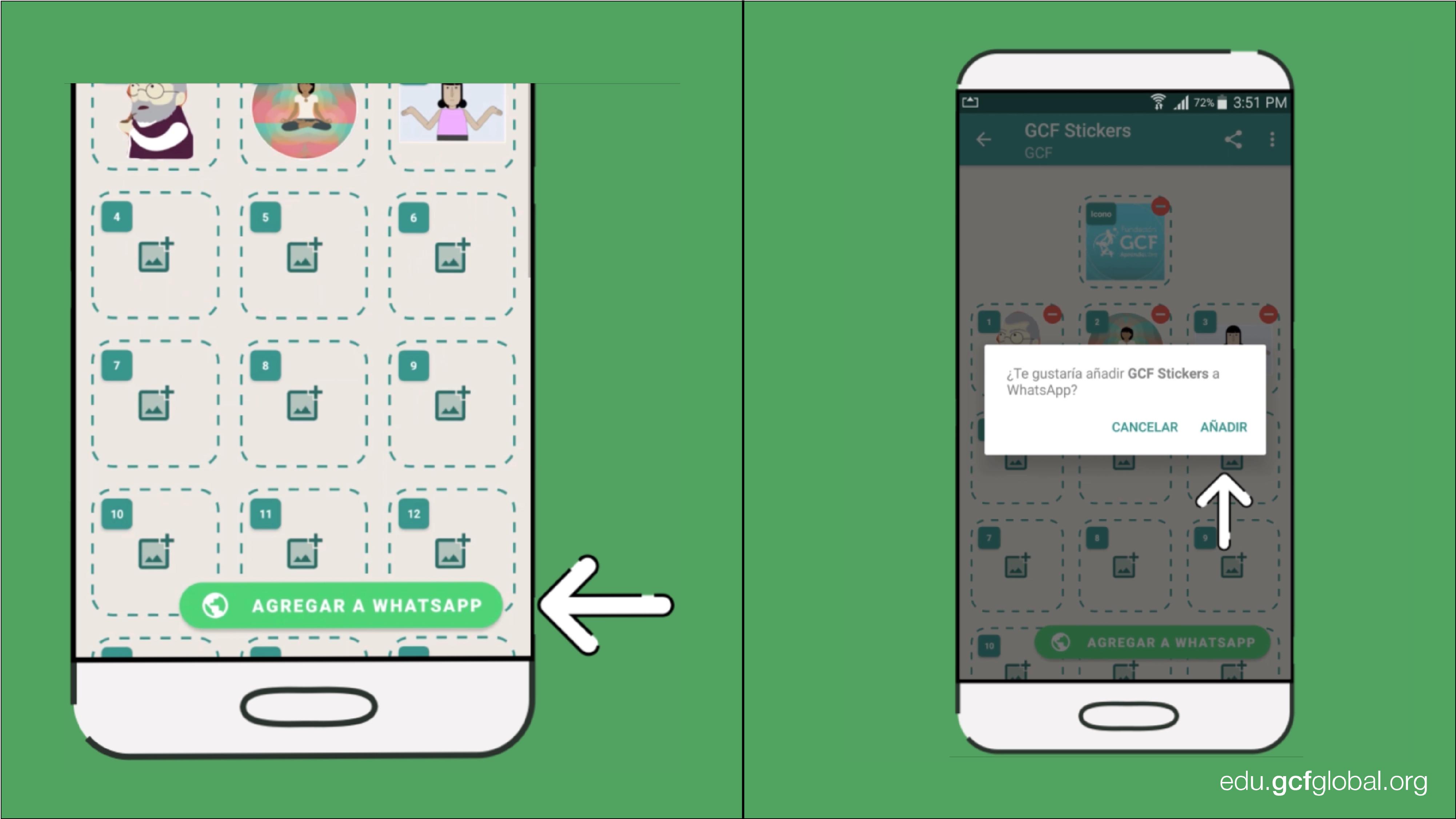Imagen de la aplicación Sticker Maker agregando el paquete de stickers a la aplicación WhatsApp.