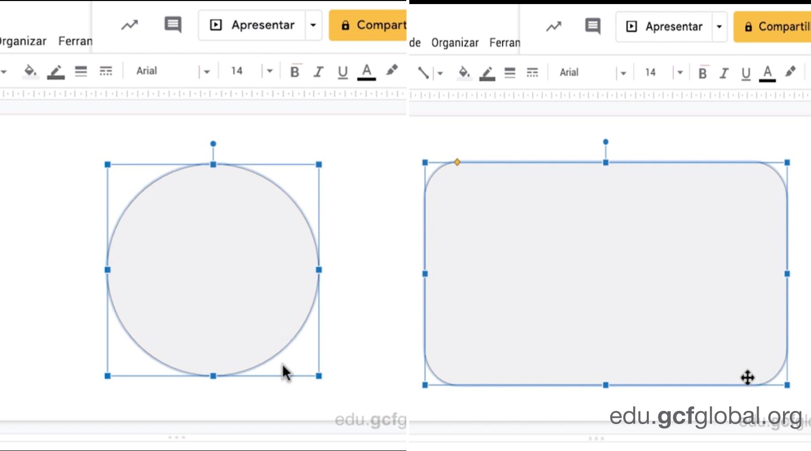 Imagens de elipse e retângulo de cantos arredondados em slides.