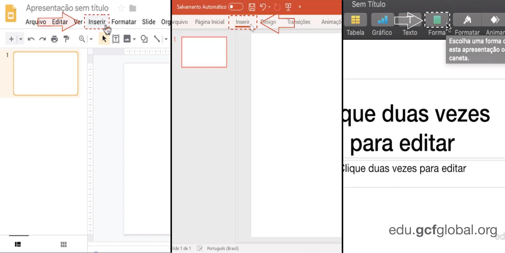 Imagem de Apresentações de Googles e Powerpoint escolhendo a opção de inserir, enquanto Keynote é escolhido a figura da opção.