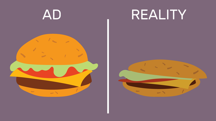 A comparison between a flawless burger from an ad, and an ugly, realistic burger.