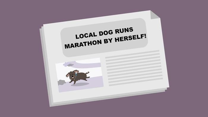 A newspaper featuring a manipulated photo of a dog running a marathon.