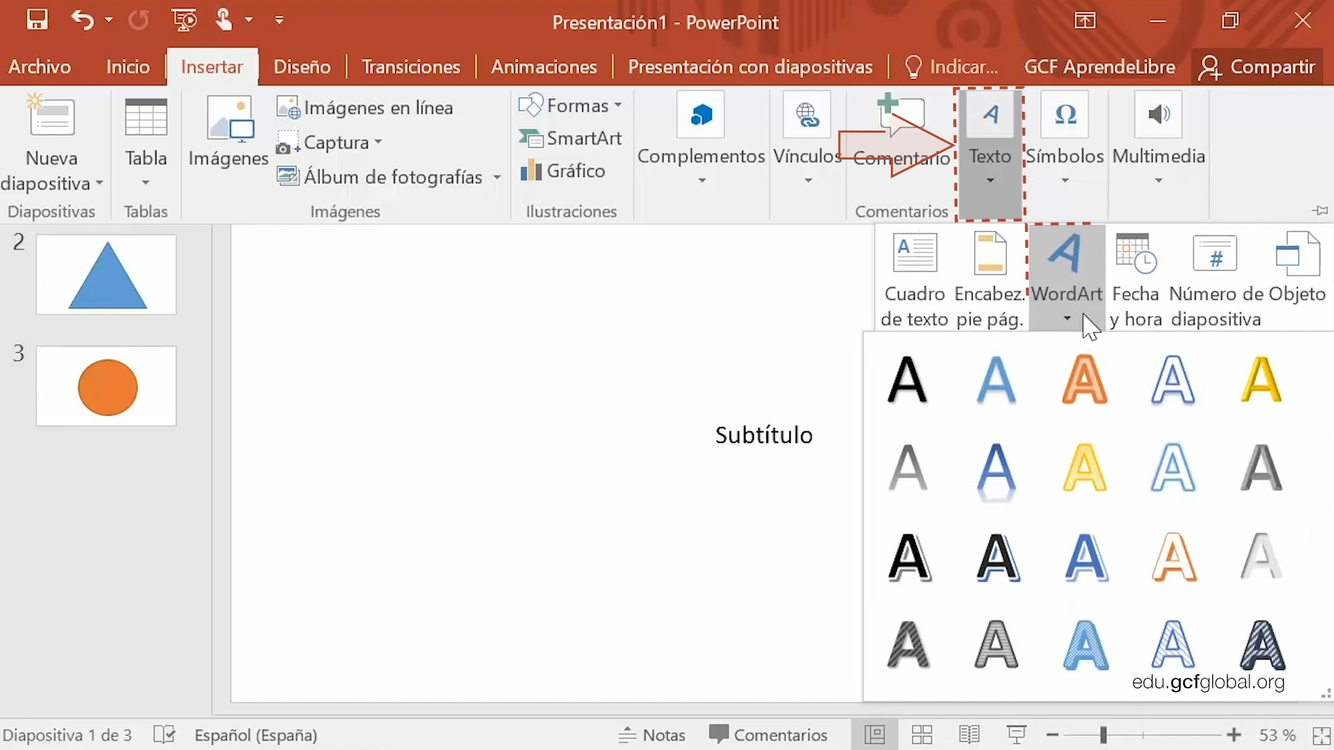 Imagen de Powerpoint seleccionando la opción WordArt.