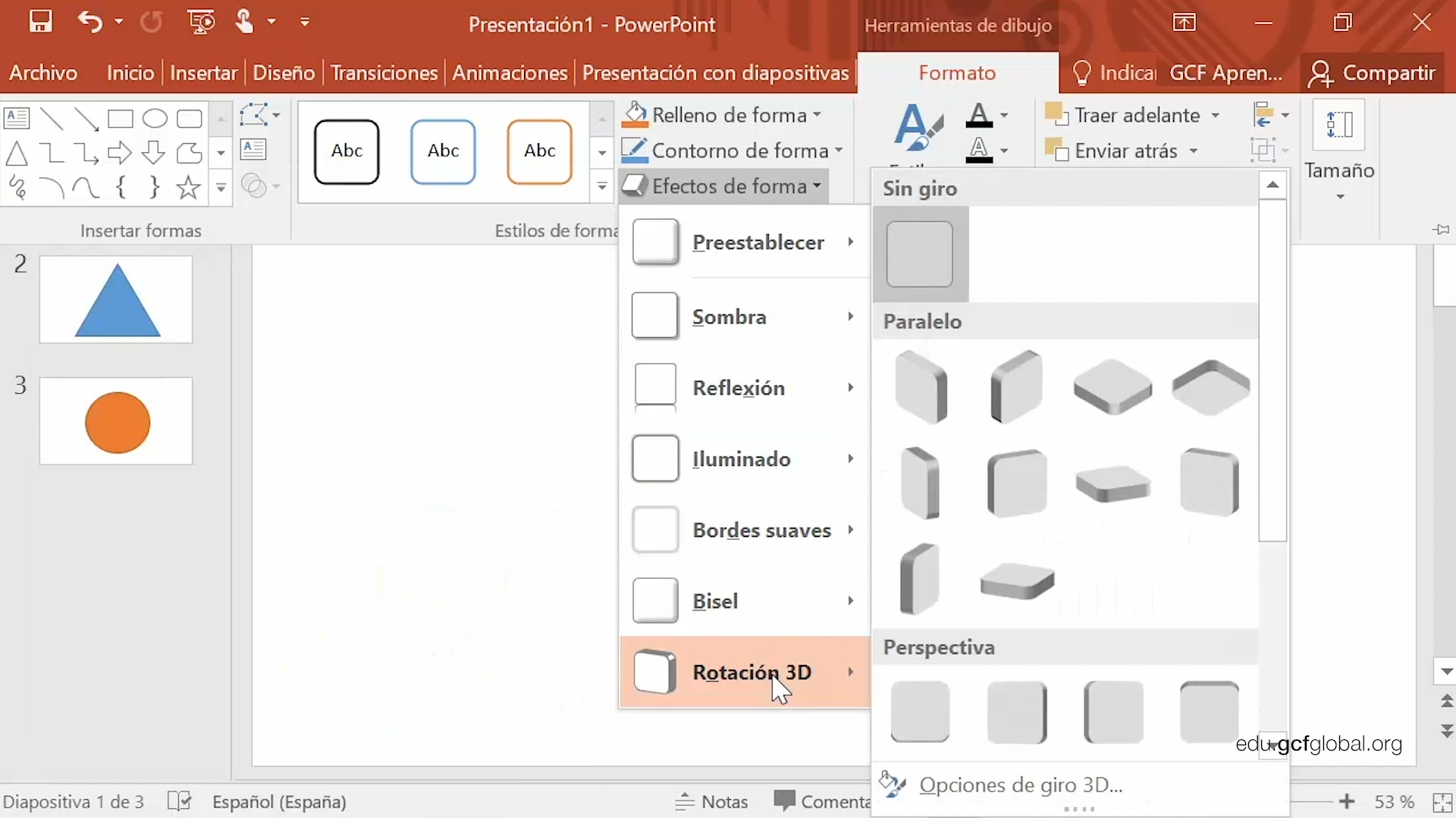 Imagen de Powerpoint explorando las opciones Relleno de forma, Contorno de forma y Efectos de forma.