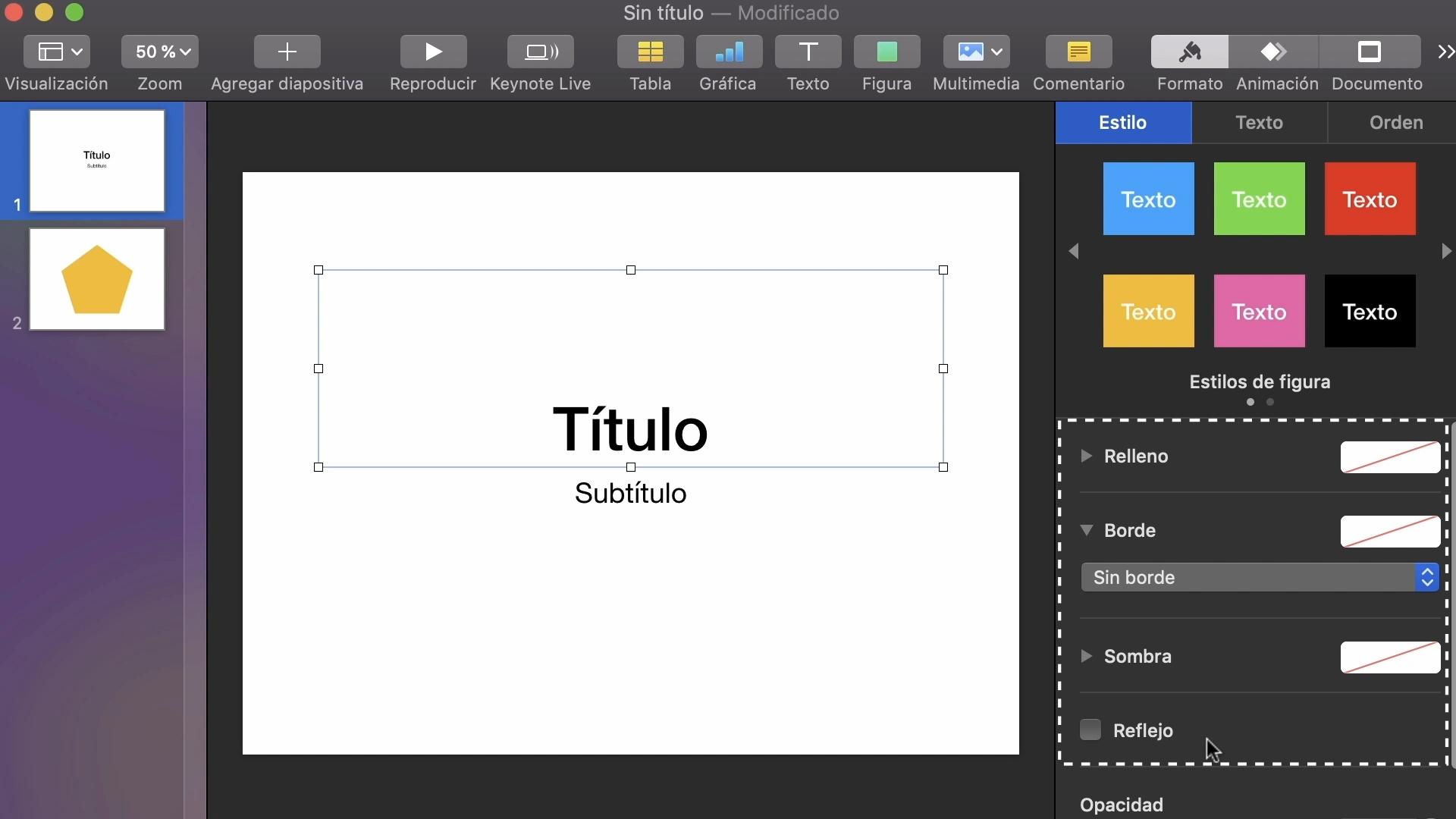 Imagen de Keynote explorando las opciones Relleno, Borde, Sombra y Reflejo.