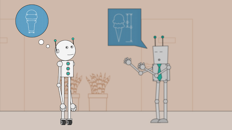 illustration of a robot focusing on his own thoughts instead of someone else talking