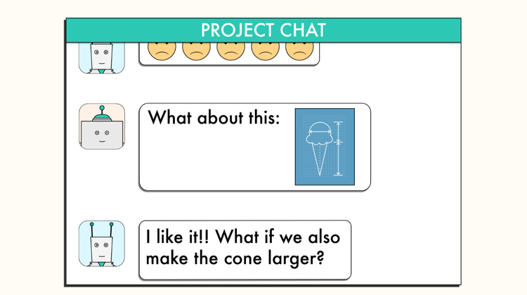 illustration of chat window where one robot is giving another robot feedback on his ice cream design