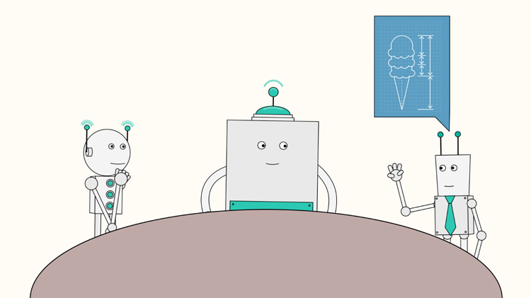 illustration of two robots listening to the ideas of another robot