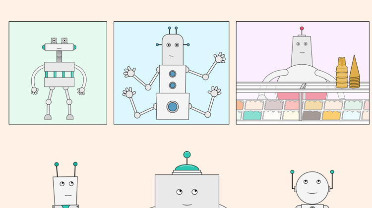 illustration of robots thinking of collaboraors outside of their field of work