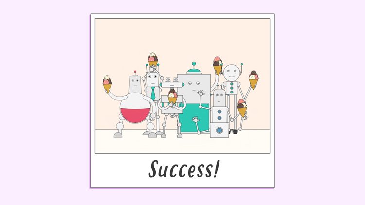 illustration of a photograph showing robots celebrating a successful collaboration