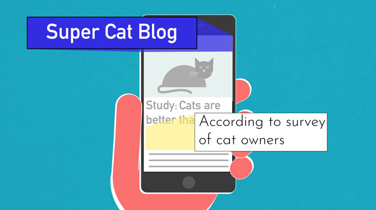 """illustration of """"Super Cat Blog"""" and """"According to survery of cat owners"""" being highlighted from an article on a smartphone"""