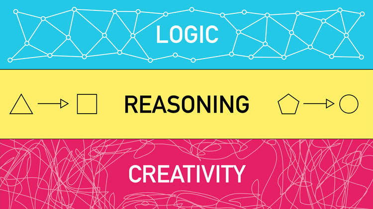 illustration of the terms logic, reasoning, and creativity