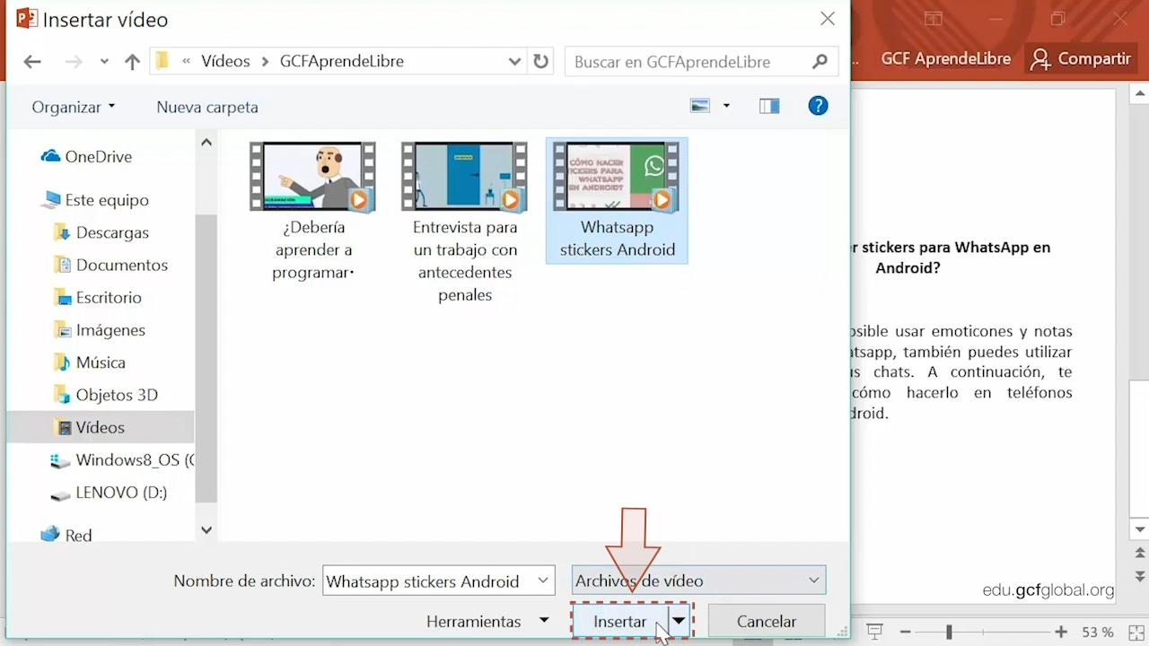 Imagen de Powerpoint insertando un video desde los archivos del computador.