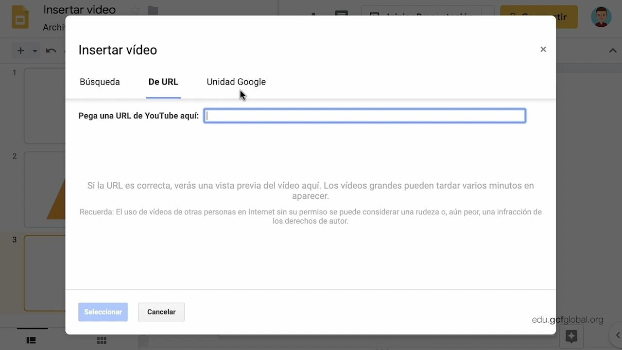 Imagen de Presentaciones de Google con las opciones YouTube, URL o Unidad de Google.