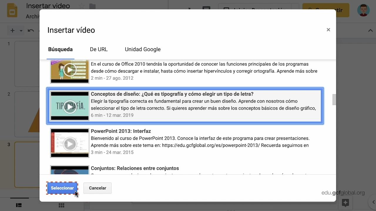 Imagen de Presentaciones de Google agregando un video desde la opción Búsqueda.