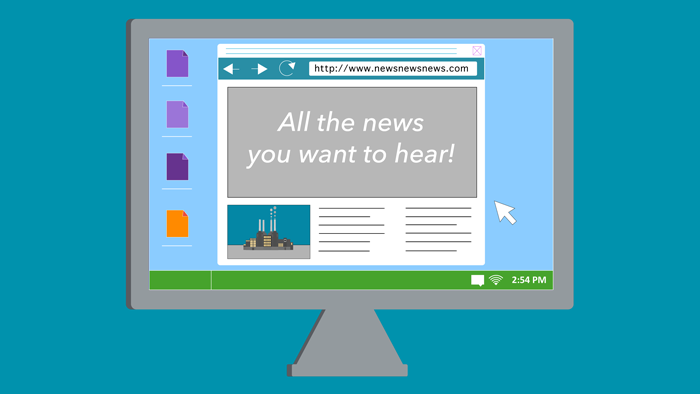 A computer shows a website that says 'All the news you want to hear!'