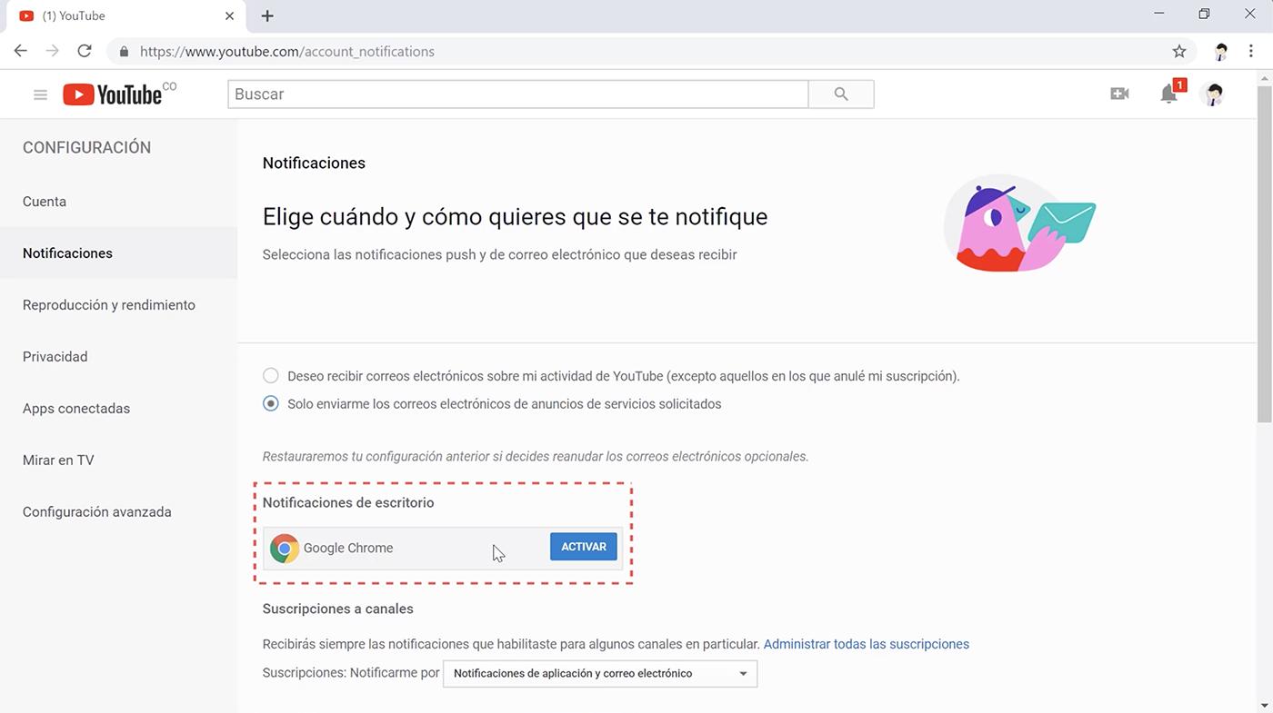 Activar notificaciones de escritorio Youtube.