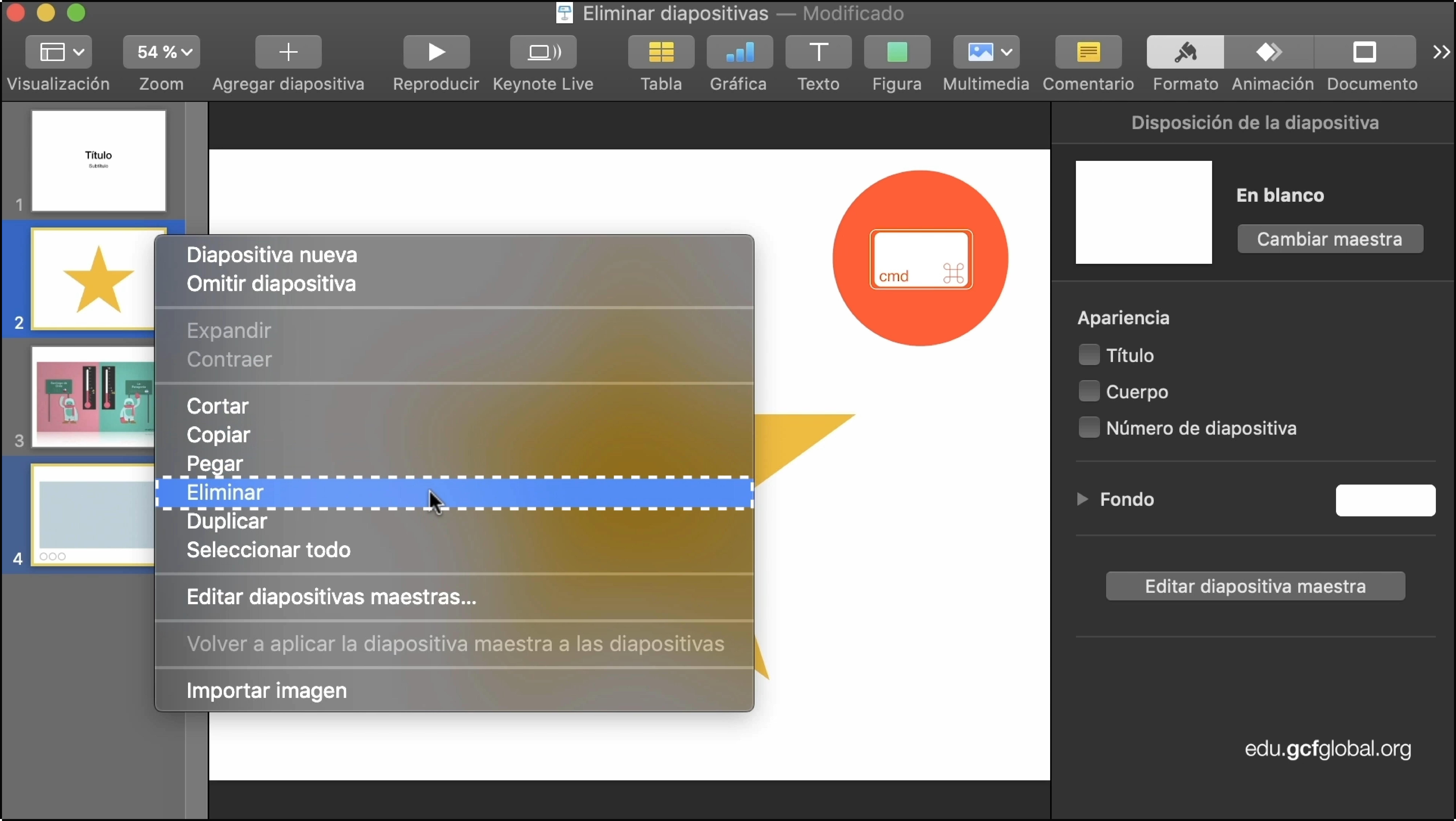 Imagen de programa Keynote eliminando dos o más diapositivas.
