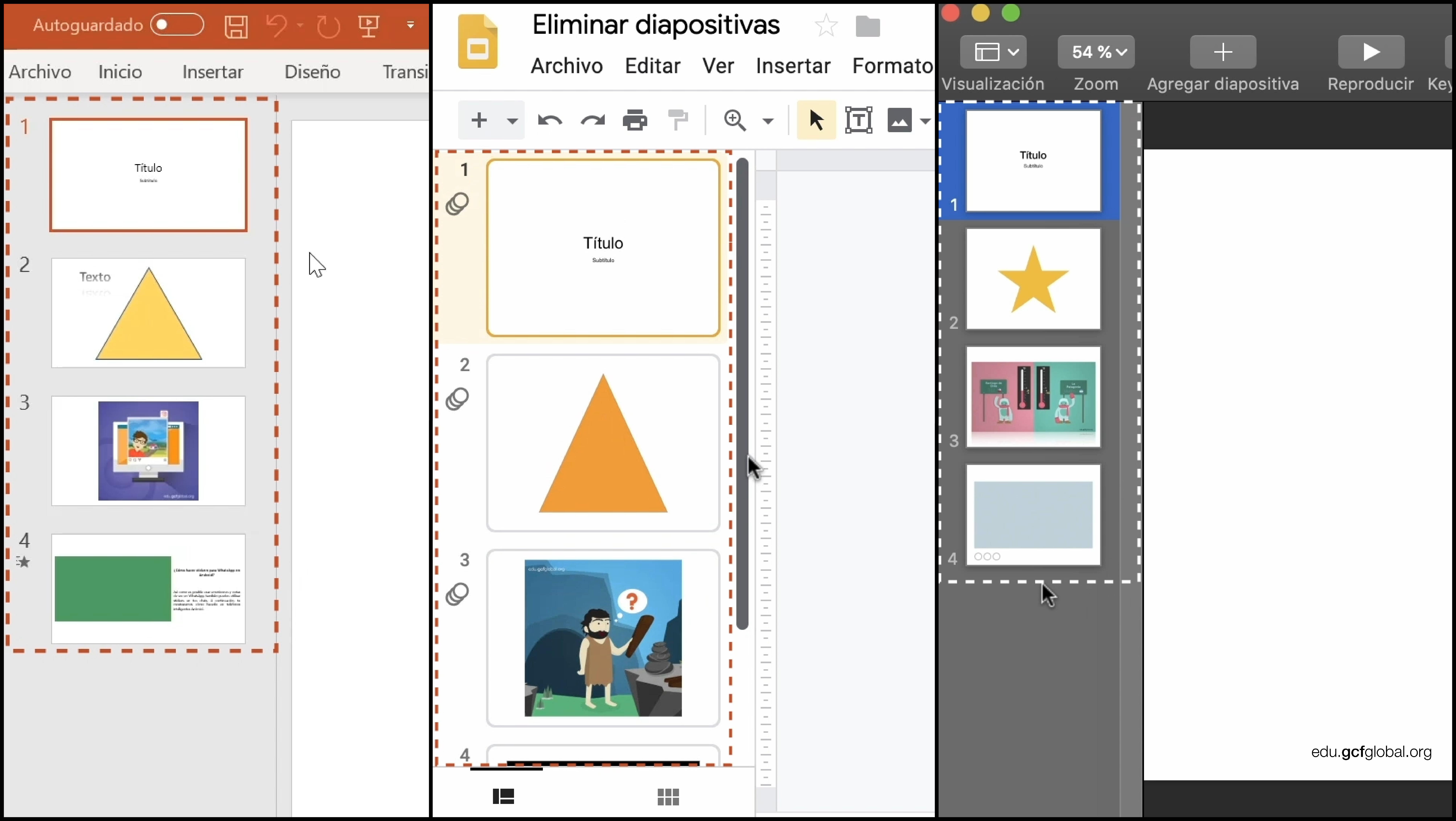 Imagen de programas Powerpoint, Presentaciones de Google y Keynote, observando al lado izquierdo el contenido y número de sus diapositivas.