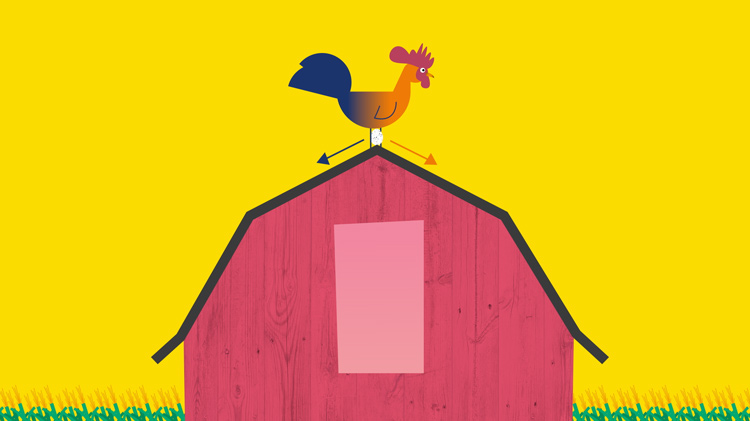 an illustration of a rooster on the roof of a barn with an egg at its peak