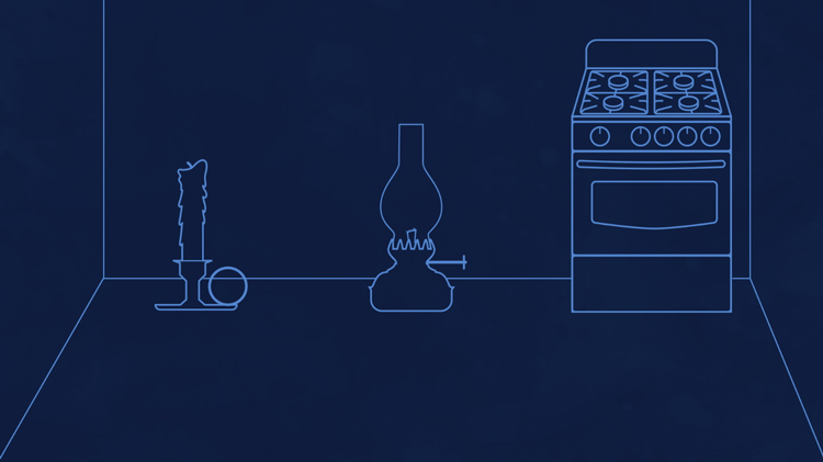illustration of a dark room with a candle, an oil lamp, and a gas stove