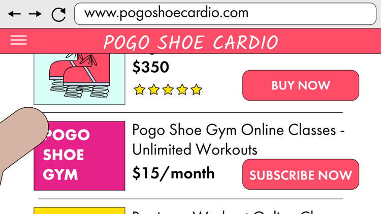illustration of a website selling pogo shoes and online gym classes