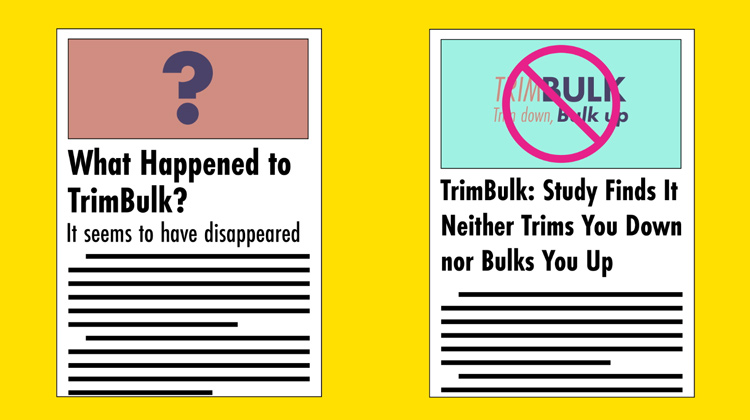 illustration of articles discussing the disappearance of the TrimBulk health craze