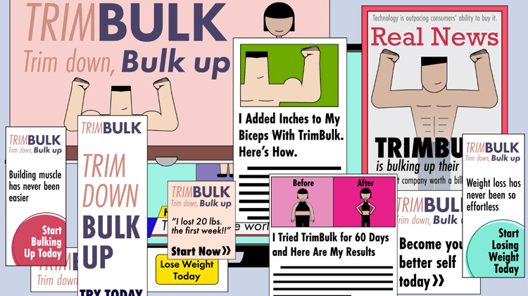 illustration of advertisements, articles, and magazine covers showcasing a health crzae called TrimBulk