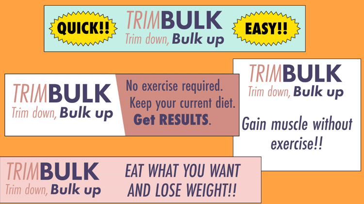 illustration of advertisements showcasing the benefits of TrimBulk