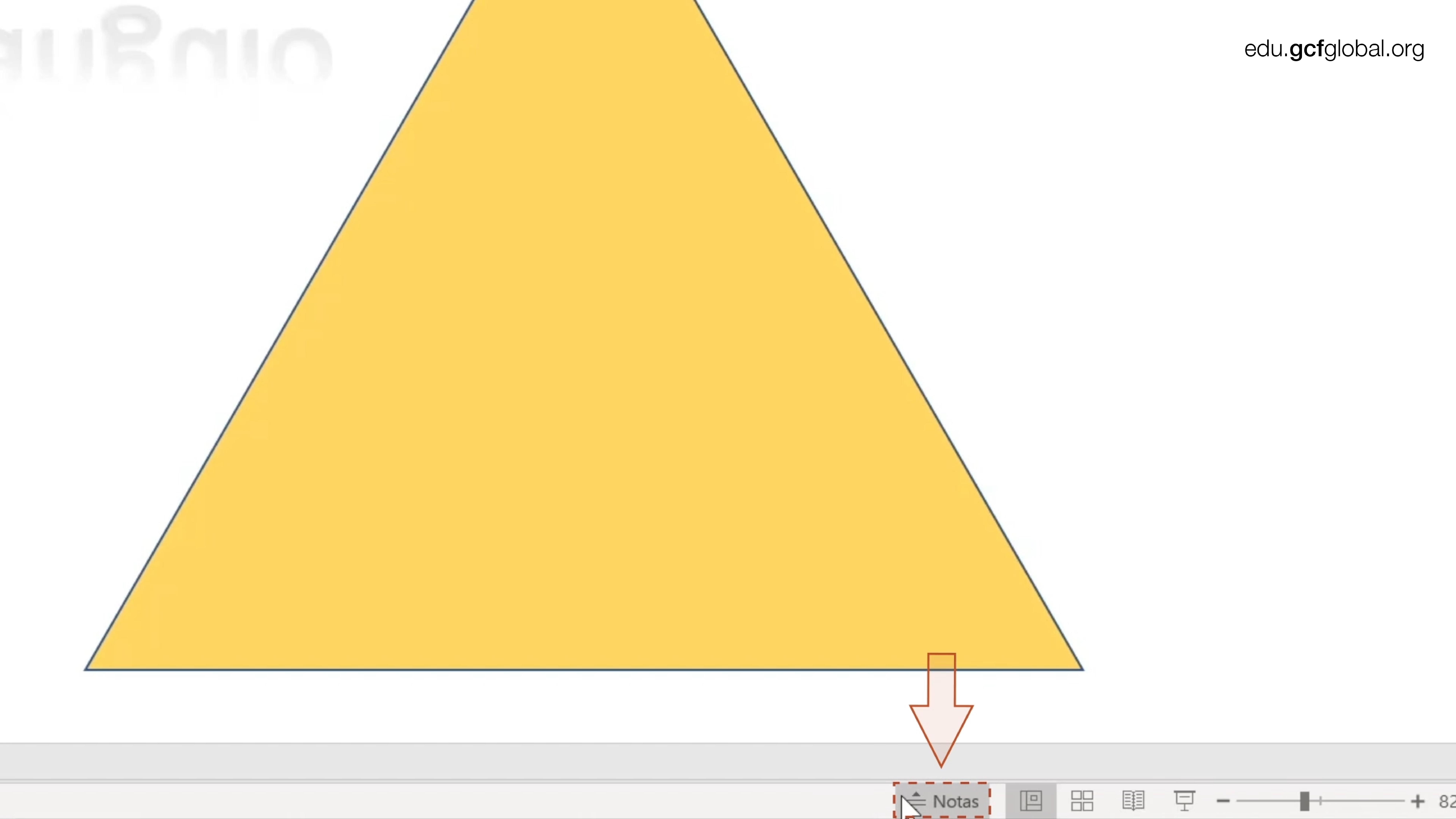 Imagen de Powerpoint eligiendo la opción notas.