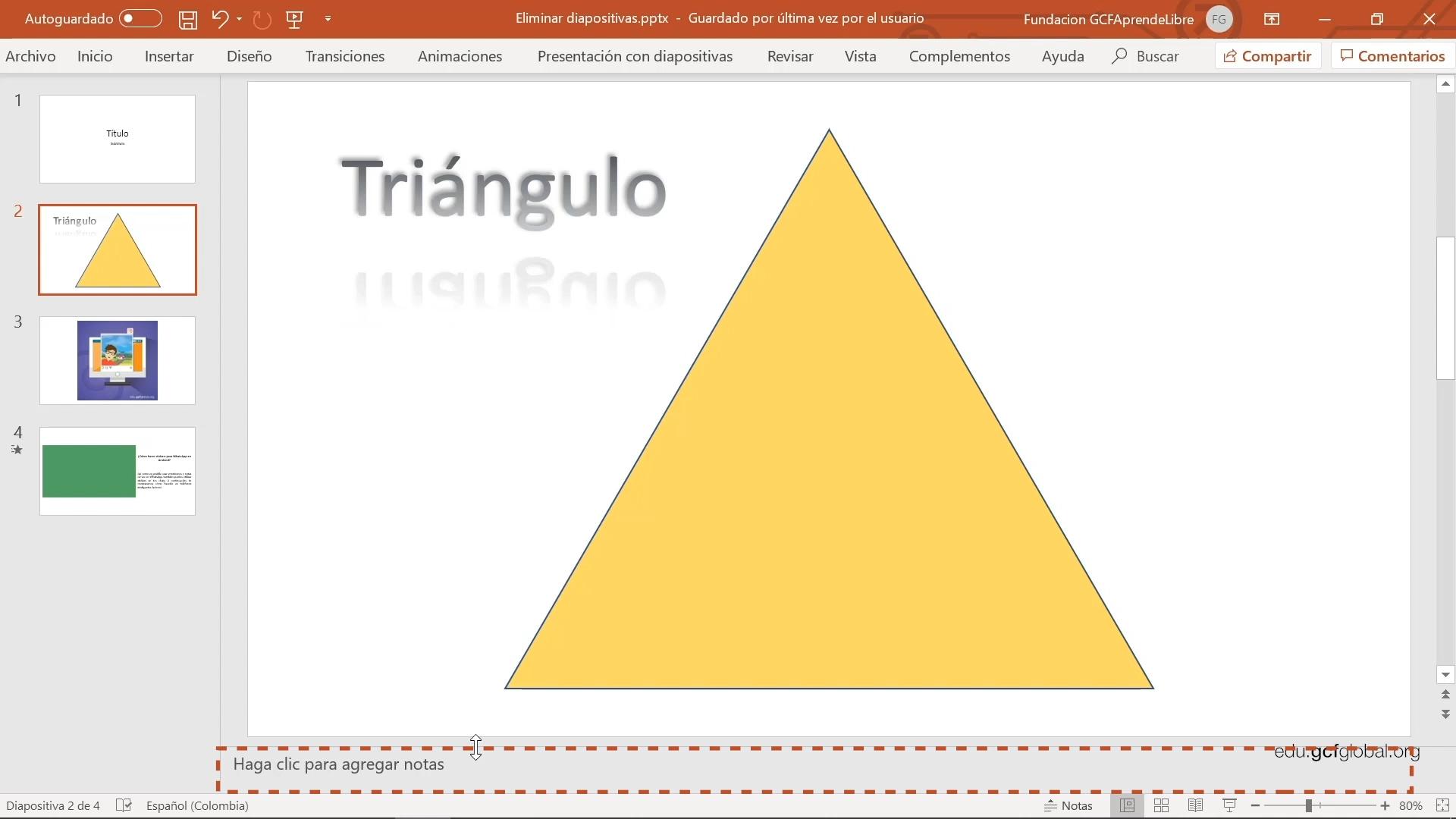 """Imagen de Powerpoint añadiendo las notas en la opción """"Haga clic para agregar notas""""."""