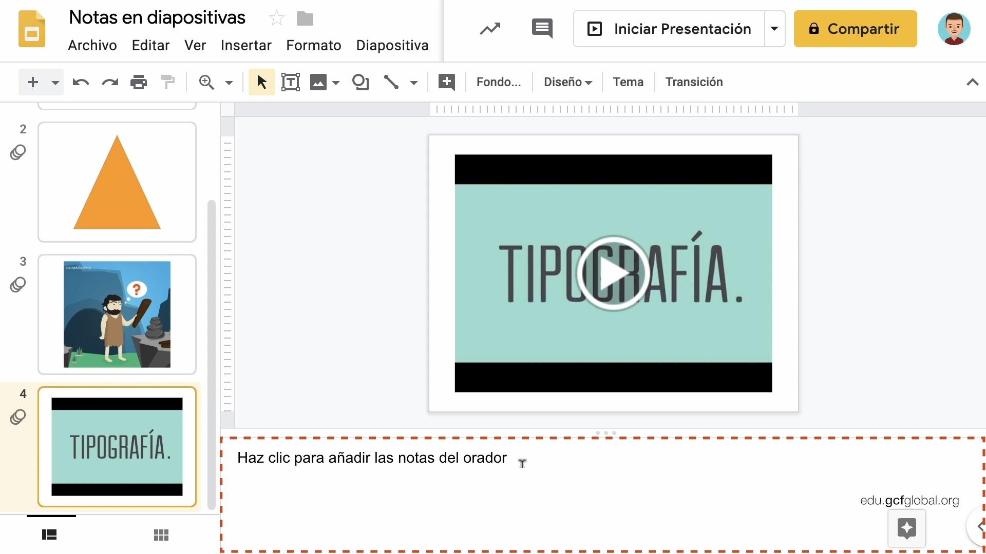 Imagen de Presentaciones de Google añadiendo las notas en la opción Notas del Orador.