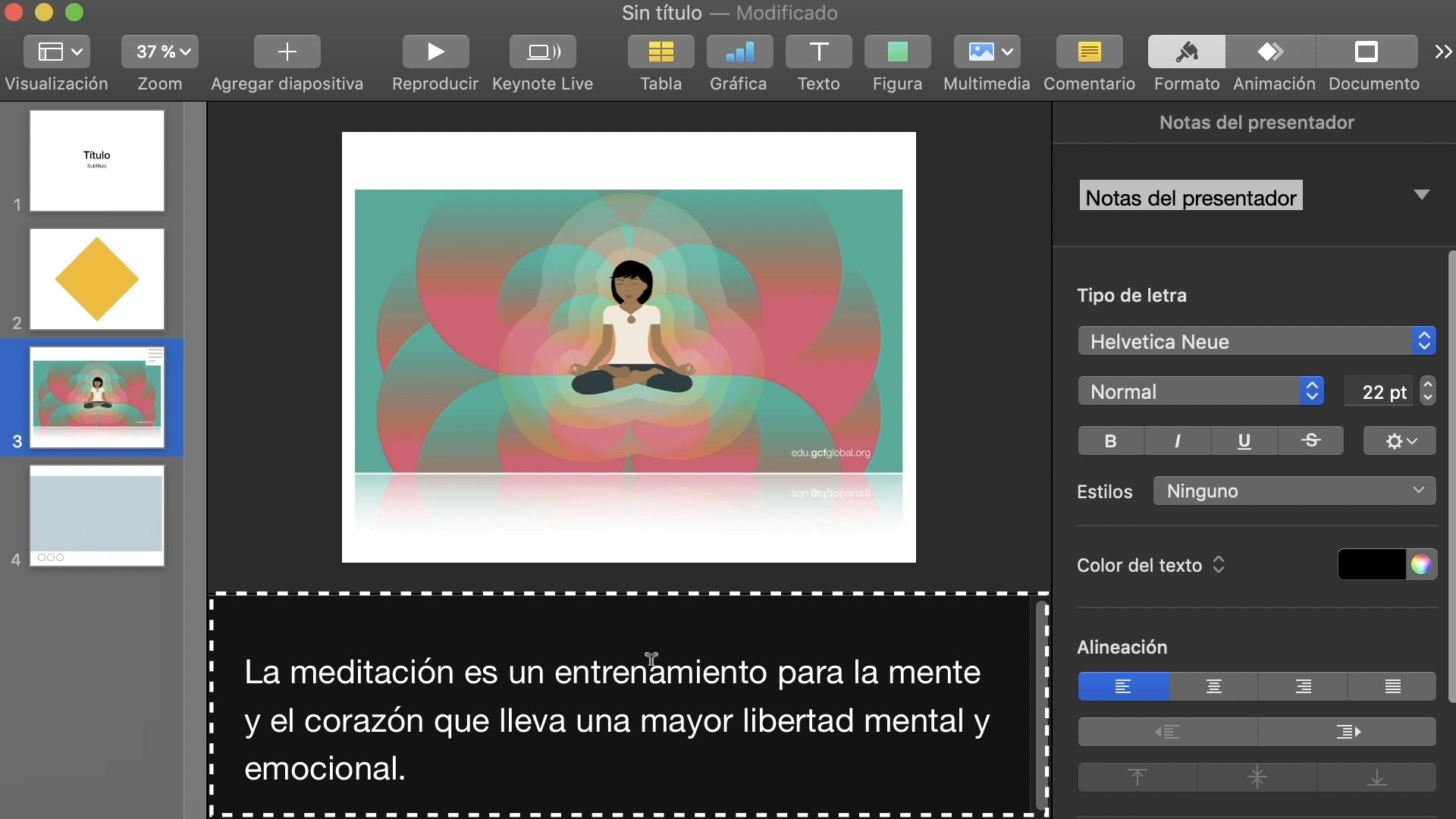 Imagen de Keynote añadiendo las notas en la diapositiva.