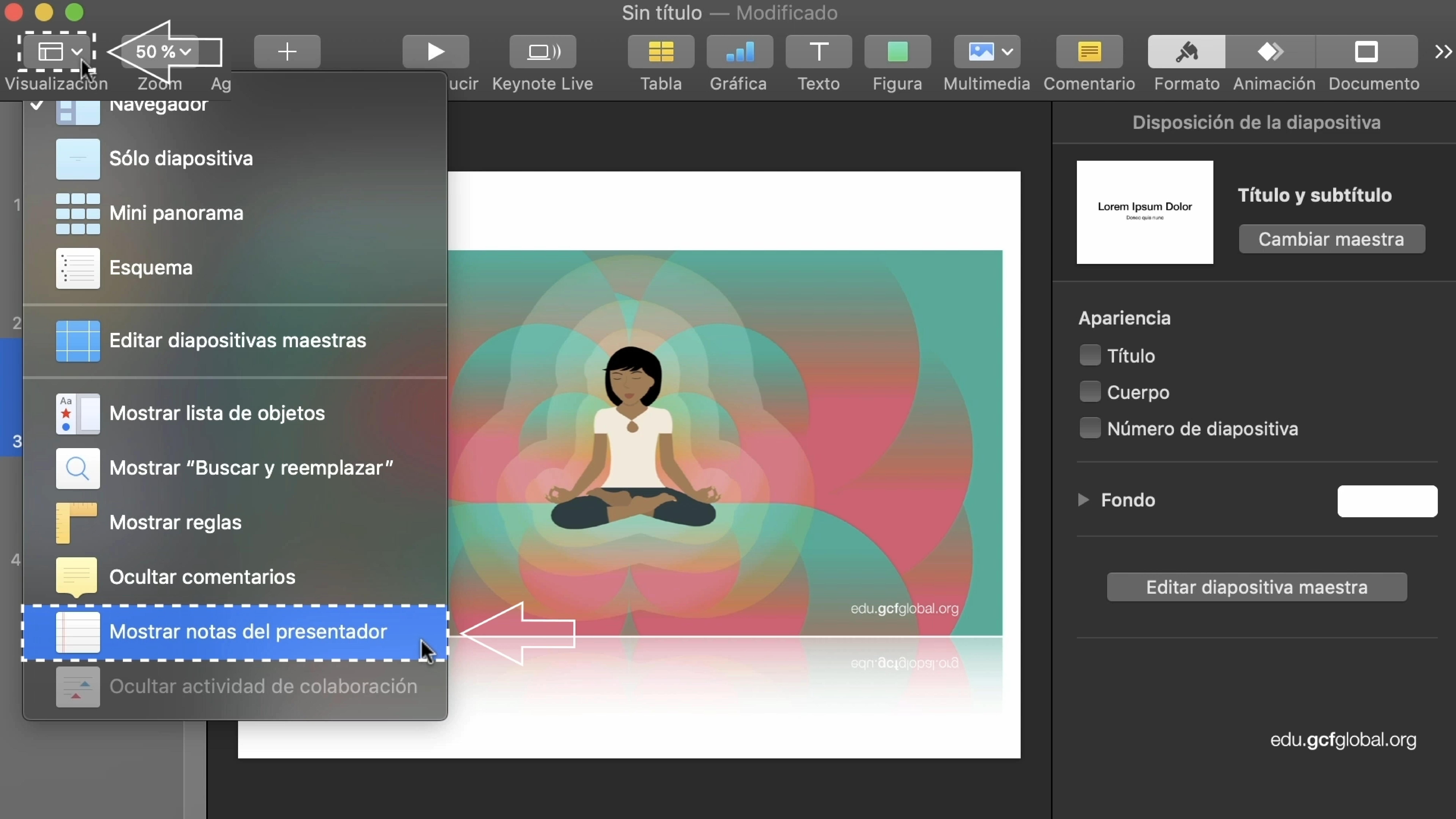 Imagen de Keynote eligiendo el botón Visualización, para luego elegir la opción Mostrar notas del presentador.