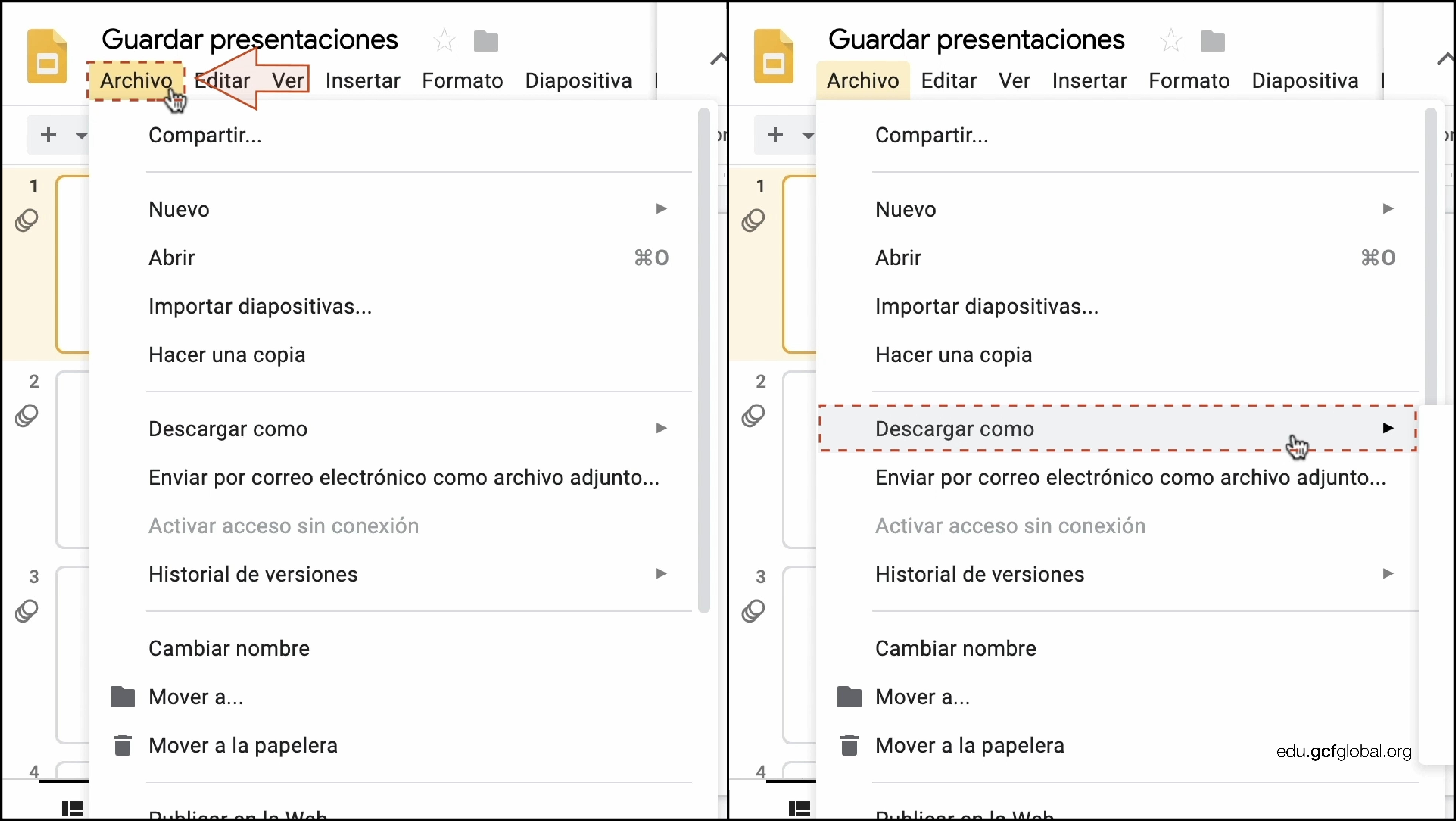 Imagen de Presentaciones de Google eligiendo las opciones Archivo y Descargar como.