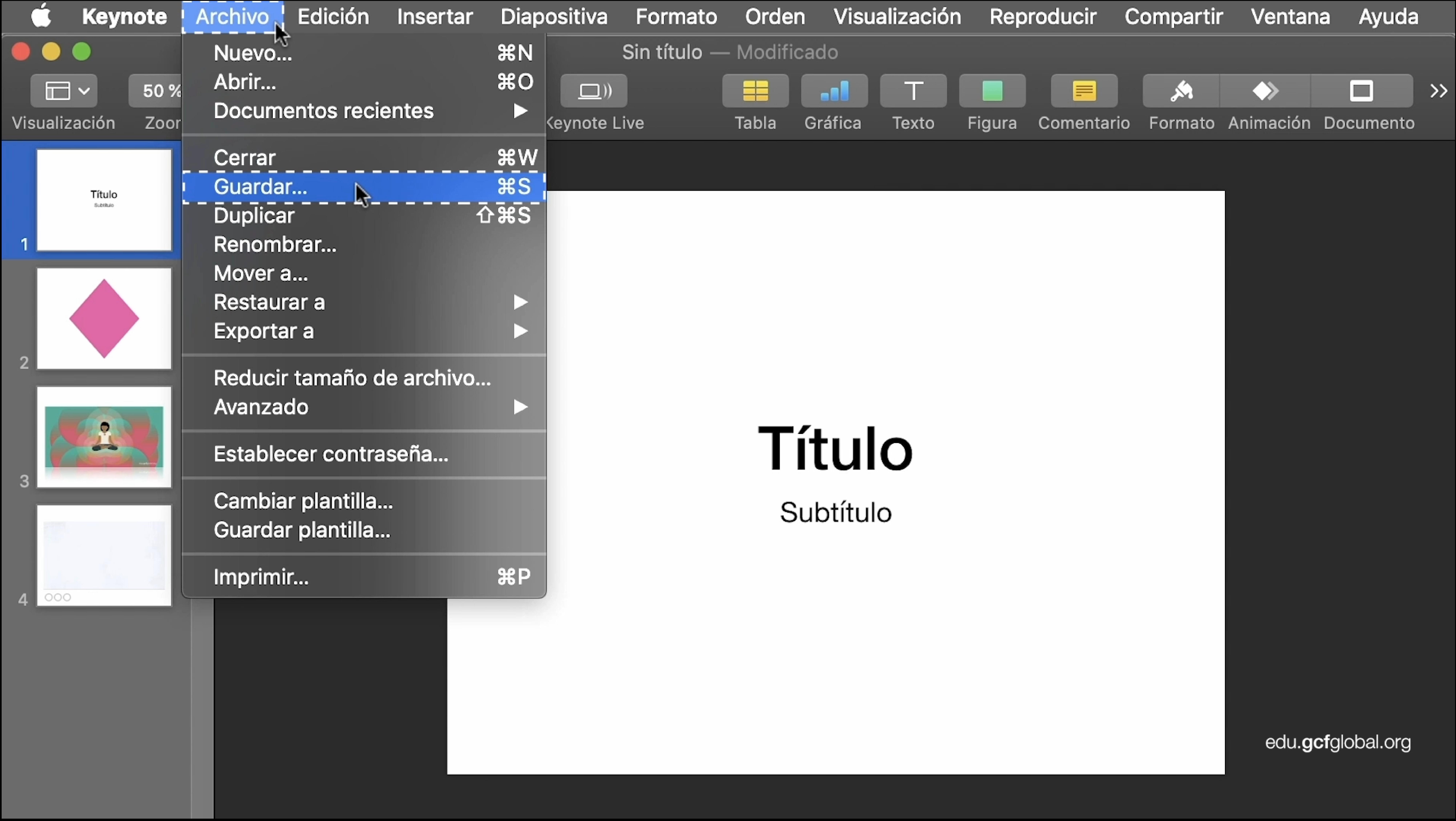 Imagen de Keynote descargando la presentación en formato macOS.
