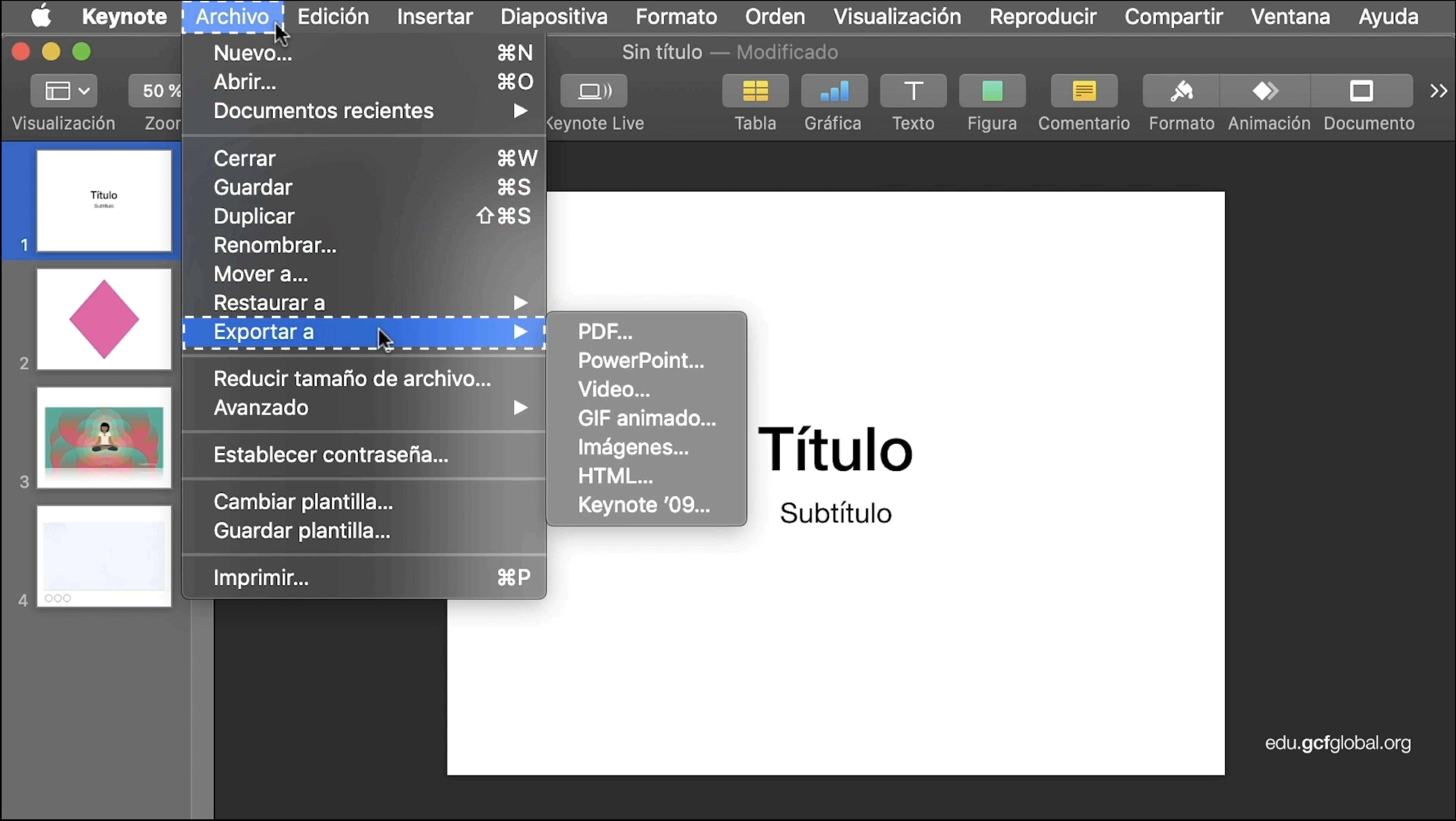 Imagen de Keynote exportando la presentación en un formato diferente.