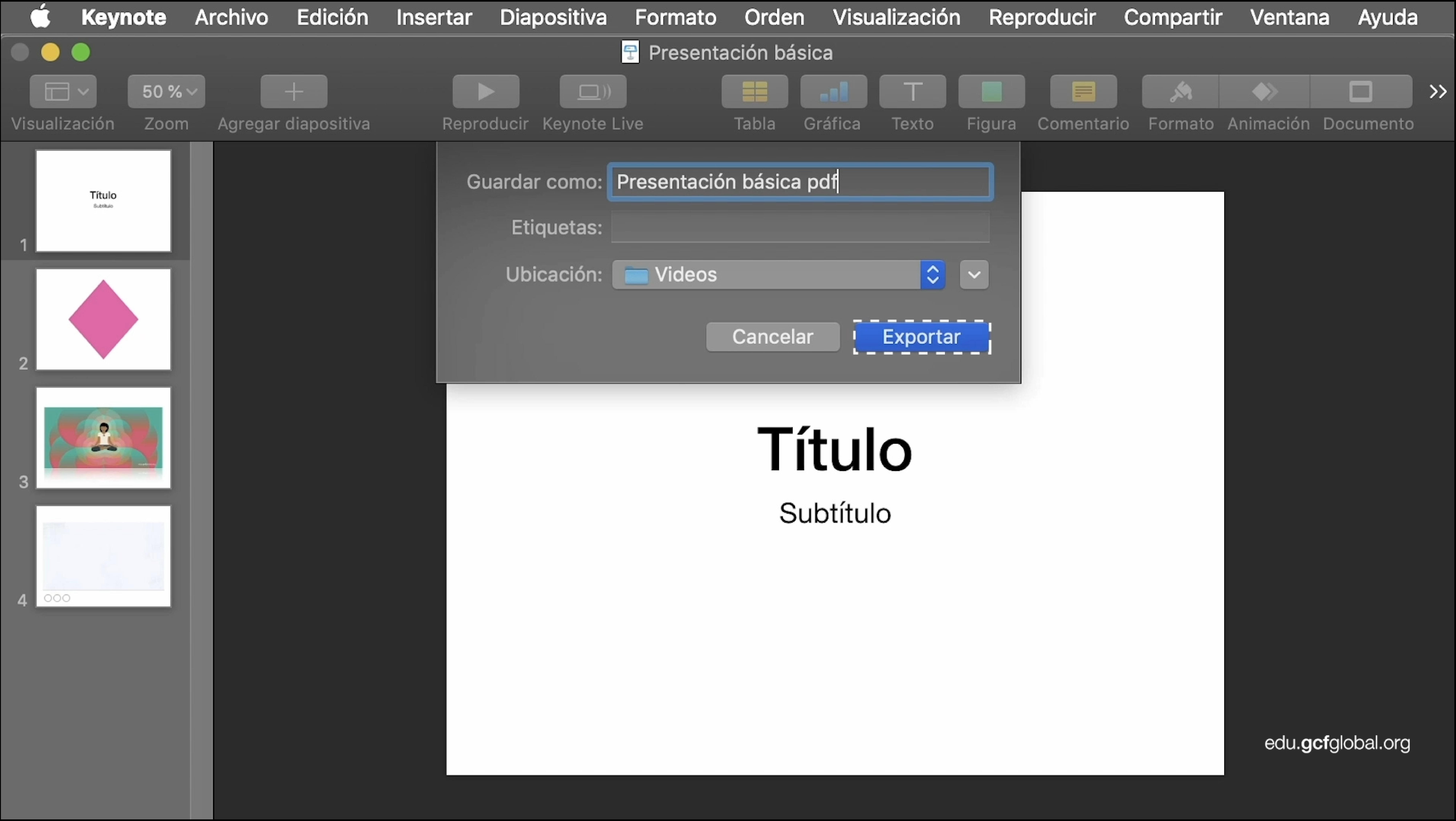 Imagen de Keynote añadiendo Nombre, Etiquetas y Ubicación para la presentación.