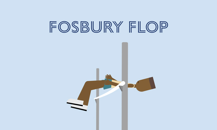 "illustration of a man performing the high jump with the text ""Fosbury Flop"" above him"