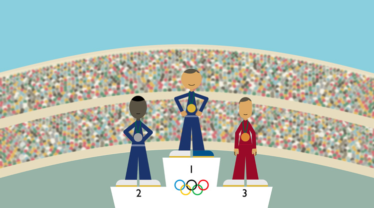illustration of the three Olympic medalists in front of a large crowd