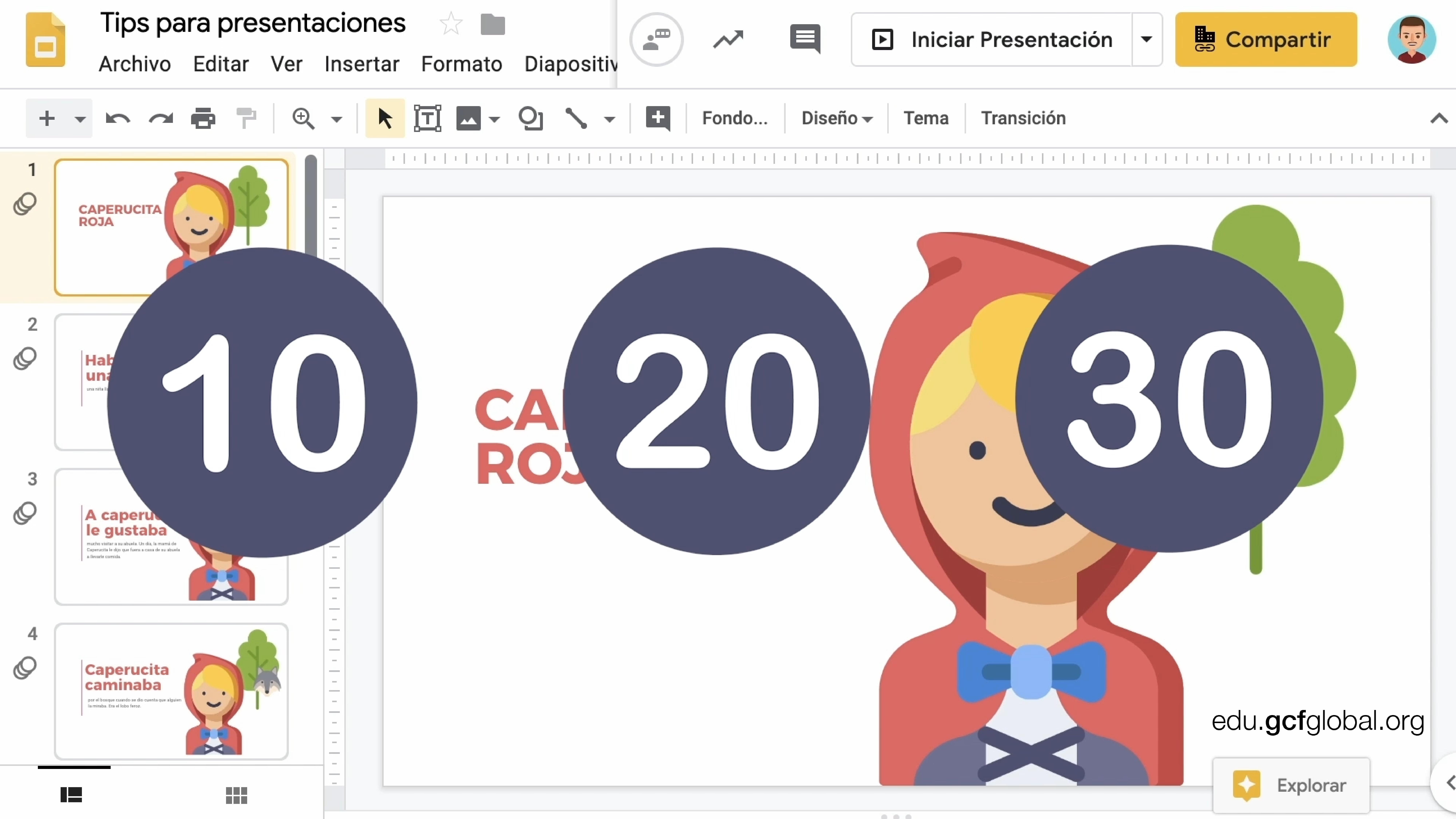 Imagen de diapositiva con los números de la regla 10,20 y 30.