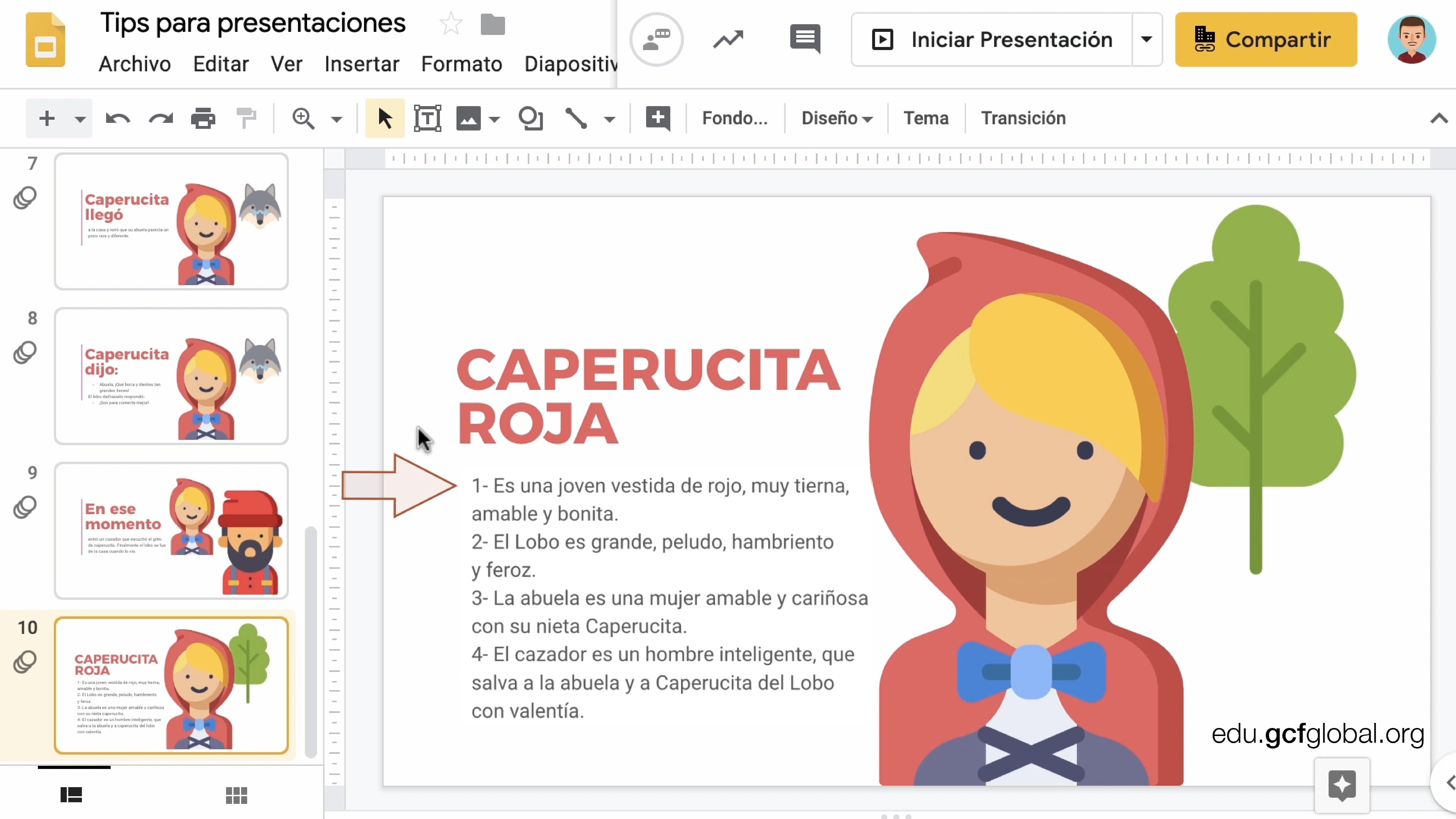 Imagen de diapositiva con una flecha resaltando la enumeración del texto.